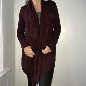 New York and Company Maroon Cardigan Sweater